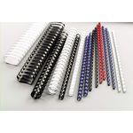 Scatola 100 dorsi spirale - plastica - 21 anelli - 14mm - nero - GBC
