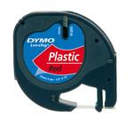 Nastro Letratag 912030 - in plastica - 12 mm x 4mt - rosso - Dymo