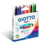 Pastelli cera - lunghezza 90mm con Ø 8,50mm- colori assortiti - Giotto -  astuccio 12 colori