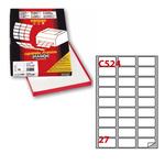 Etichetta adesiva C524 - permanente - 56x28 mm - 27 etichette per foglio - bianco - Markin - scatola 100 fogli A4