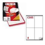 Etichetta adesiva C505 - permanente - 105x140 mm - 4 etichette per foglio - bianco - Markin - scatola 100 fogli A4