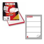 Etichetta adesiva C535 - permanente - 190x61 mm - 4 etichette per foglio - bianco - Markin - scatola 100 fogli A4