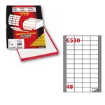 Etichetta adesiva C530 - permanente - 48x25 mm - 48 etichette per foglio - bianco - Markin - scatola 100 fogli A4