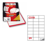 Etichetta adesiva C510 - permanente - 70x37 mm - 24 etichette per foglio - bianco - Markin - scatola 100 fogli A4