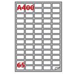Etichetta adesiva A400 - permanente - 38,1x21,2 mm - 65 etichette per foglio - bianco - Markin - scatola 100 fogli A4