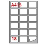 Etichetta adesiva A415 - permanente - 63,5x46,6 mm - 18 etichette per foglio - bianco - Markin - scatola 100 fogli A4