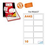 Etichetta adesiva A445 - permanente - 99,6x57 mm - 10 etichette per foglio - bianco - Markin - scatola 100 fogli A4