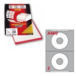 Etichetta adesiva a/460 bianca 100fg A4 x cd ø114,5mm foro 41mm (2et/fg) markin