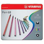 Pennarelli Pen 68 astucci e rotoli - 20 colori - Stabilo - scatola in metallo 20 pennarelli