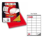 Etichetta adesiva C500 - permanente - 70x36 mm - 24 etichette per foglio - rosso - Markin - scatola 100 fogli A4