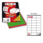 Etichetta adesiva C500 - permanente - 70x36 mm - 24 etichette per foglio - verde - Markin - scatola 100 fogli A4