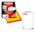 Etichetta adesiva C503 - permanente - 210x297 mm - 1 etichetta per foglio - giallo - Markin - scatola 100 fogli A4