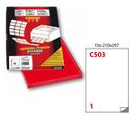 Etichetta adesiva C503 - permanente - 210x297 mm - 1 etichetta per foglio - rosso - Markin - scatola 100 fogli A4