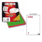 Etichetta adesiva C503 Markin - verde - 210x297 mm - 1 etichetta per foglio - scatola 100 fogli A4