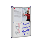 Bacheca per interni ultrapiatta - fondo in metallo magnetico bianco - 4 fogli A4 - verticale - Nobo
