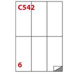 Etichetta adesiva C542 - permanente - 70x148 mm - 6 etichette per foglio - bianco - Markin - scatola 100 fogli A4