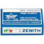 Punti Zenith 130/E S100 - 6/4 - acciaio naturale - metallo - Zenith - conf. 1000 pezzi