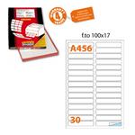 Etichetta adesiva A456 - permanente - 100x17 mm - 30 etichette per foglio - bianca - Markin - scatola 100 fogli A4