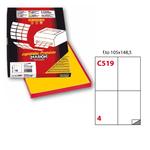 Etichetta adesiva C519 - permanente - 105x148 mm - 4 etichette per foglio - giallo - Markin - scatola 100 fogli A4