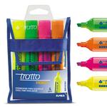 Evidenziatore Tratto Video - 4 colori - punta a scalpello - tratto da 1,0 a 5,0mm - Tratto - busta 4 evidenziatori