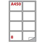 Etichetta adesiva A450 - permanente - 99,1x67,7 mm - 8 etichette per foglio - bianco - Markin - scatola 100 fogli A4