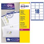 Etichetta adesiva L7161 - permanente - 63,5x46,6 mm - 18 etichette per foglio - bianco - Avery - conf. 100 fogli A4