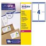 Etichetta adesiva L7169 - permanente - 99,1x139 mm - 4 etichette per foglio - bianco - Avery - conf. 100 fogli A4