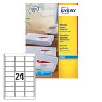 Etichetta adesiva J8159 Avery - bianco - adatta a stampanti inkjet - 63.5x33.9 mm - 24 etichette per foglio - conf. 25 fogli A4