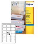 Etichetta adesiva j8161 bianca 25fg A4 63,5x46,6 (18et/fg) inkjet avery