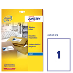 Etichetta adesiva J8167 Avery - bianco - adatta a stampanti inkjet - 199.6x289.1 mm - 1 etichetta per foglio - conf. 25 fogli A4