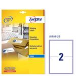 Etichetta adesiva J8168 Avery - bianco - adatta a stampanti inkjet - 199.6x143.5 mm - 2 etichette per foglio - conf. 25 fogli A4