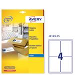 Etichetta adesiva J8169 Avery - bianco - adatta a stampanti inkjet - 99.1x139 mm - 4 etichette per foglio - conf. 25 fogli A4