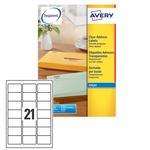 Poliestere adesivo j8560 trasparente 25fg A4 63,5x38,1mm (21et/fg) inkjet avery