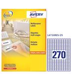 Etichetta adesiva l4730rev bianca rimovibili 25fg A4 17,8x10mm (270et/fg) avery