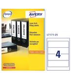 Etichetta adesiva L7171 - permanente - 200x60 mm - 4 etichette per foglio - bianco coprente - Avery - conf. 25 fogli A4