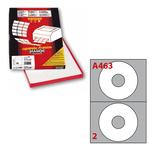 Etichetta adesiva a/463 bianca 100fg x cd ø117,5mm foro41mm (2et/fg) markin