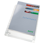 Buste forate con soffietto - 22x30 cm - PVC - trasparente - Leitz - conf. 10 pezzi