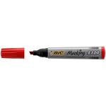 Marcatori permanente Marking a base d\alcool - punta scalpello da 3,70mm a 5,50mm - rosso - Bic - conf. 12 pezzi
