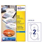Etichetta adesiva l7676 bianca cd/dvd 25fg A4 ø117mm (2et/fg) laser avery