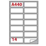 Etichetta adesiva A440 - permanente - 99,1x38,1 mm - 14 etichette per foglio - bianco - Markin - scatola 100 fogli A4