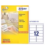 Etichetta adesiva L4743REV - rimovibile - 99,1x42,3 mm - 12 etichette per foglio - bianco - Avery - conf. 25 fogli A4
