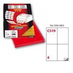 Etichetta adesiva C519 - permanente - 105x148 mm - 4 etichette per foglio - rosso - Markin - scatola 100 fogli A4