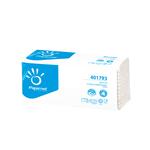 Asciugamani piegati a Z - 2 veli - 22 gr - goffratura a onda+ - 23,4x23 cm - bianco - Papernet - conf. 143 pezzi