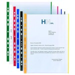 Buste forate con banda colorata - Linear - buccia - 21x29,7 cm - blu - Favorit - conf. 10 pezzi