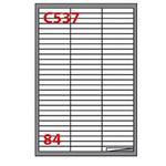 Etichetta adesiva C537 - permanente - 67x10 mm - 84 etichette per foglio - bianco - Markin - scatola 100 fogli A4