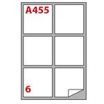 Etichetta adesiva A455 - permanente - 99,1x93,1 mm - 6 etichette per foglio - bianco - Markin - scatola 100 fogli A4