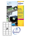 Poliestere adesivo l7060 bianco 20fg A4 63,5x38,1mm (21et/fg) laser avery