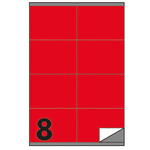 Etichetta adesiva C502 - permanente - 105x72 mm - 8 etichette per foglio - rosso - Markin - scatola 100 fogli A4