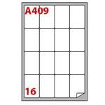 Etichetta adesiva A409 - permanente - 47,7x70 mm - 16 etichette per foglio - bainco - Markin - scatola 100 fogli A4