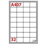 Etichetta adesiva A407 - permanente - 47,5x35 mm - 32 etichette per foglio - bianco - Markin - scatola 100 fogli A4
